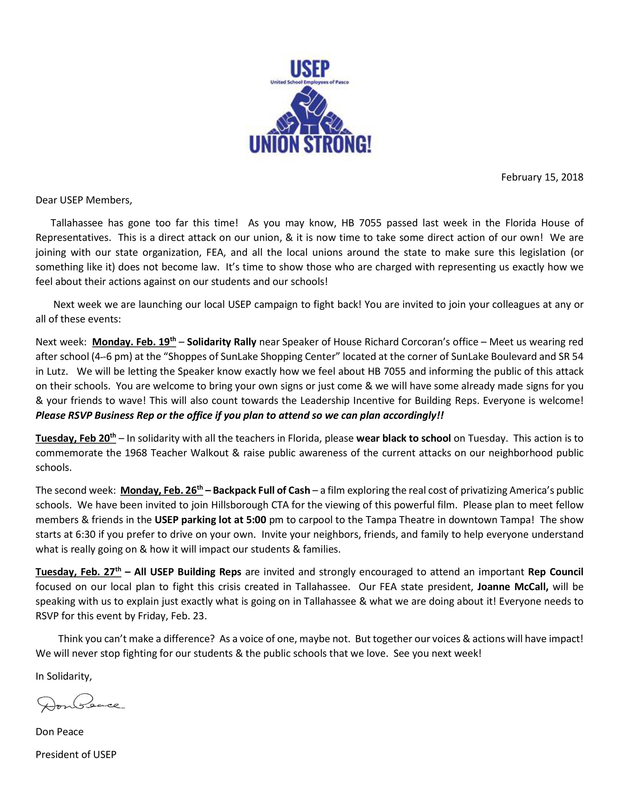 USEP 50 for 50 Campaign Letter